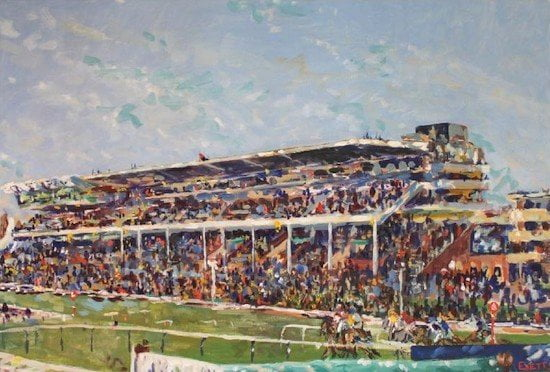 Amateur jockey's art exhibition includes last days at Hereford and Folkestone Racecourses