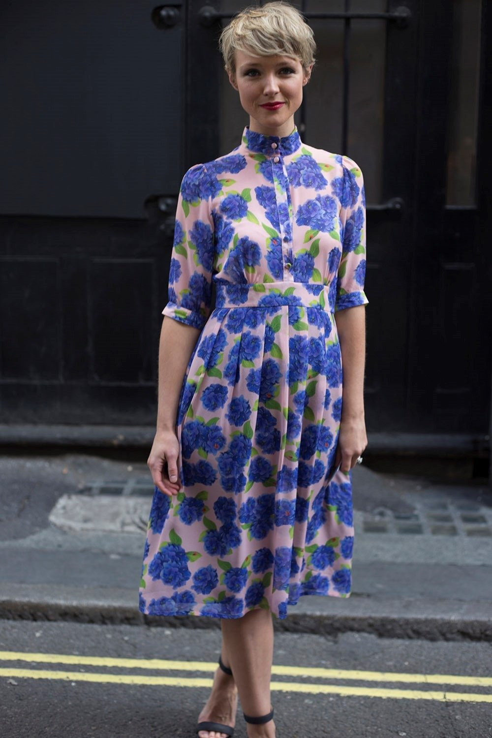 Blue and pink floral dress at Topshop