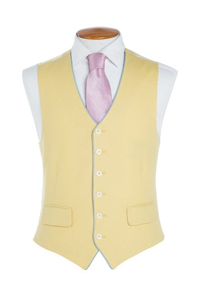 Double breasted mid blue wool waistcoat. Price £155. 76fb441b2